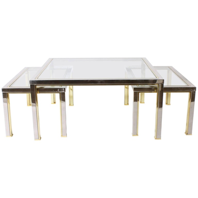 Set of Three Brass and Nickel Nesting Coffee Tables in the Style of Romeo Rega