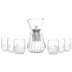 Fluted Talise Pitcher and Six Mixed Small Glass Set