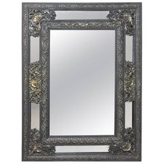 19th Century French Embossed Brass Baroque Mirror