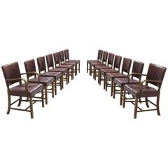 Large Set of 14 Dining Chairs by Fritz Hansen, 1940s