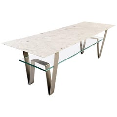 Zaza Table, Contemporary Carrara Marble, Stainless Steel and Glass Coffee Table