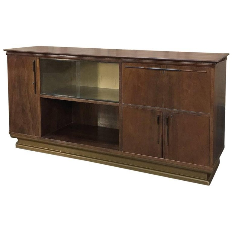 Mid-Century French Walnut Display Buffet, Bar