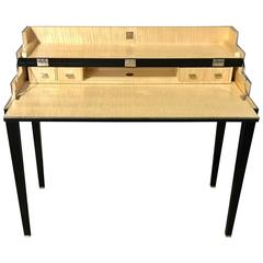 Exquisite Woven Leather and Stainless Steel Campaign Desk by Theodore Alexander