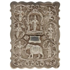 Antique Indian Silver Embossed Card Case, circa 1900