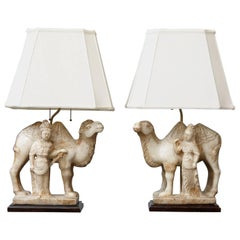 Pair of Hand-Carved Figurative Marble Table Lamps