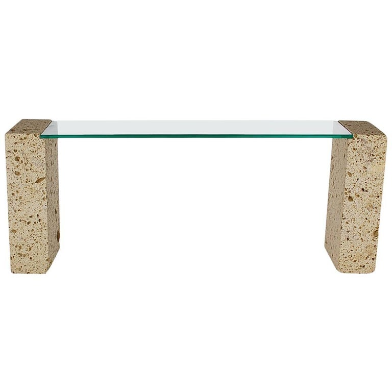 Mid-Century Modern Cut White Coral and Glass Console Table or Desk After Sirmos For Sale