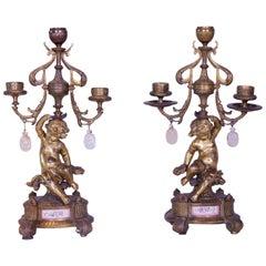 19th Century French Cherub Ormolu Candelabras