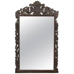 Grand 19th Century German Renaissance Carved and Stripped Oak Mirror