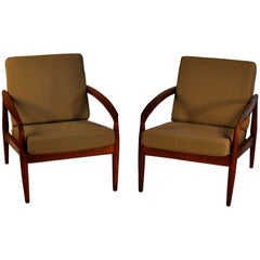 1950s Set of Two Kai Kristiansen Paper Knife Armchairs in Teak and Green Fabric