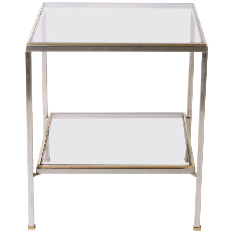 nickel and brass cigarette table with glass shelves circa. Black Bedroom Furniture Sets. Home Design Ideas