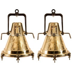 Pair of Mid-Century Brass Nautical Ship Deck Lights
