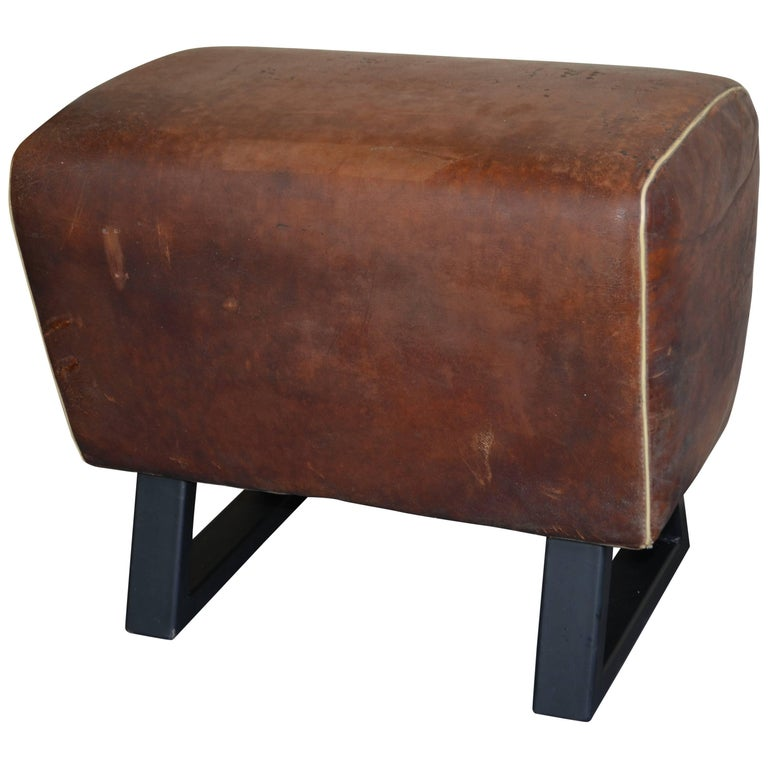 Bench Made from Vintage Leather Gym Gymnastic Pommel Goat; Steel Bracket Legs