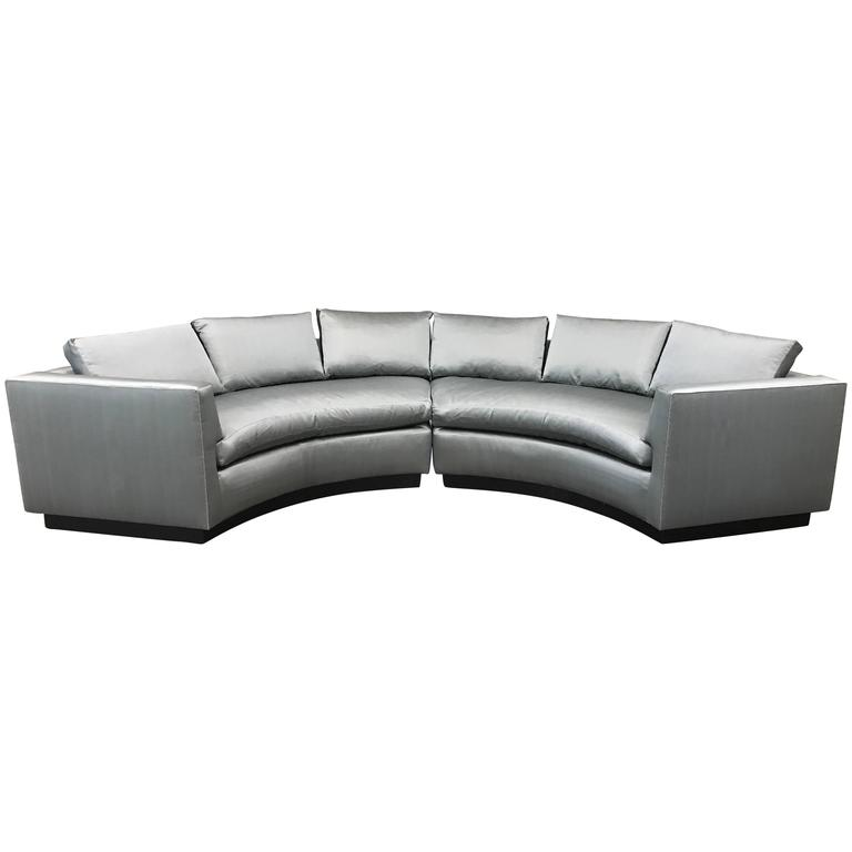Two-Piece Sofa Sectional in Satin  For Sale