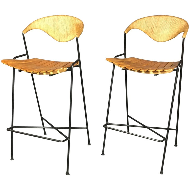 Pair Of Arthur Umanoff Iron Birch And Rush Bar Stools