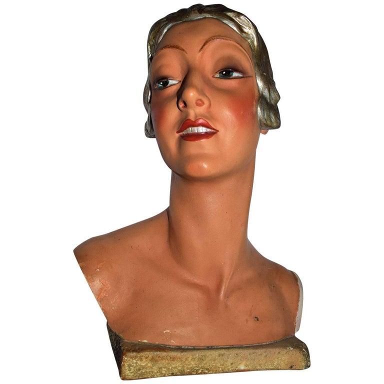 Rare 1930s Art Deco English Female Shop Mannequin