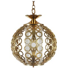 Hollywood Regency Brass Ring Pendant Hanging Lamp