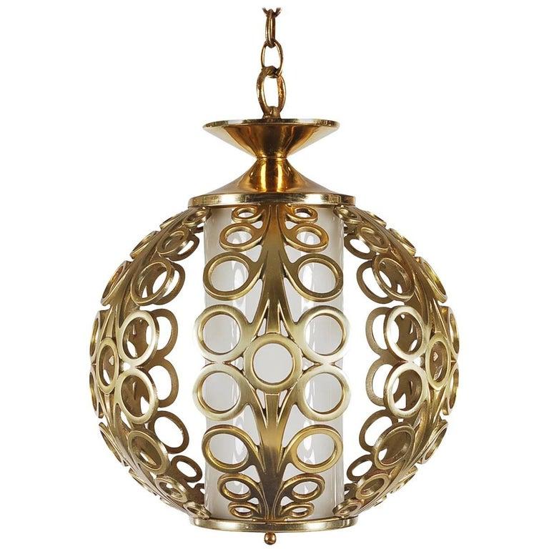 Hollywood Regency Brass Ring Pendant Hanging Lamp For Sale