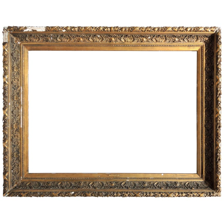 19th Century Italian Carved and Silver Gilt Frame For Sale at 1stdibs