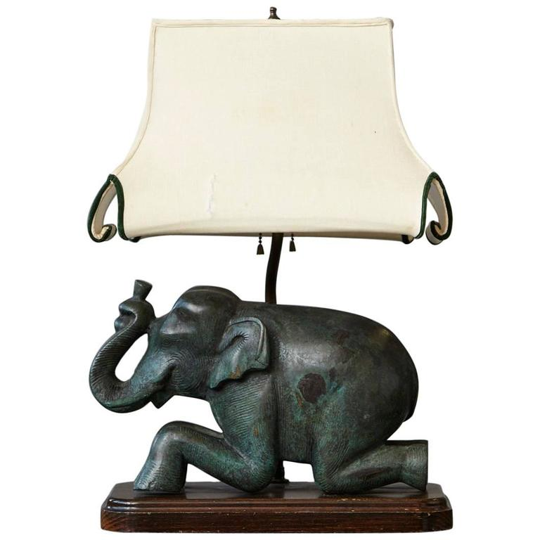 Patinated Metal Recumbent Indian Elephant form Table Lamp For Sale