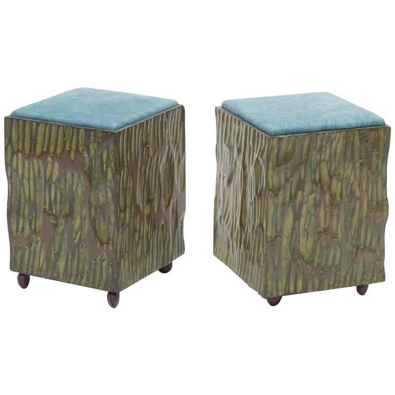 Phillip Lloyd Powell Painted Hand-Carved Stools with Abstract Patterned Textile For Sale