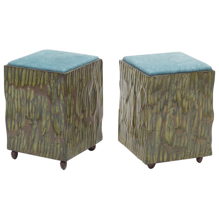Phillip Lloyd Powell Painted Hand Carved Stools with Abstract Patterned Textile For Sale