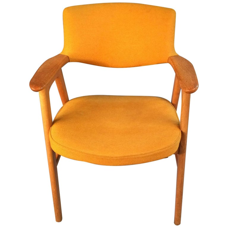 1950s Erik Kirkegaard Elbow Chair in Oak and Yellow Fabric, Høng Stolefabrik