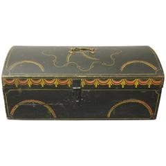 Black and Polychrome Decorated Dome-Top Small Trunk or Document Box