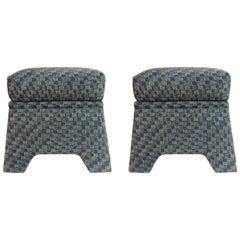 Pair of Vintage Stools Covered in Vintage Batik Indigo Textile