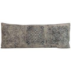 Vintage Hill Tribe Indigo Batik Long Bolster Decorative Pillow