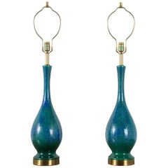 Pair of Vintage Mid-Century Blue and Green Ceramic Table Lamps