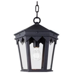 Vintage Inspired Wrought Iron Exterior Lantern Pendant, Spanish Influence