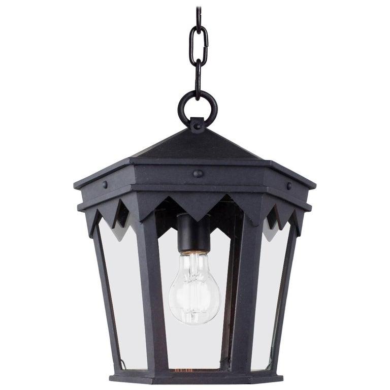 Vintage Inspired Wrought Iron Exterior Lantern Pendant, Spanish Influence For Sale