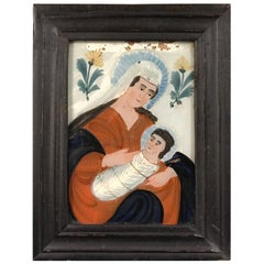 Madonna and Child Reverse Glass Painting, Germany