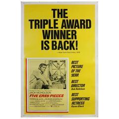 Five Easy Pieces Movie Poster, Jack Nicholson, Original 1973 Re-Issue