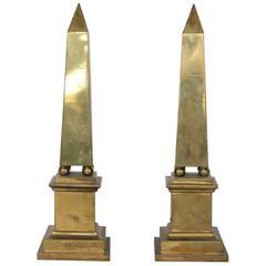 Midcentury Italian Brass Obelisks
