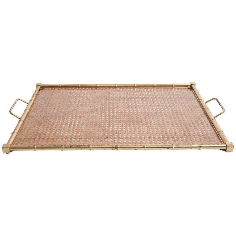ffec9d5da1 Large Mid-Century Christian Dior Style Brass, Lucite and Rattan Serving Tray