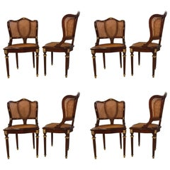 Set of Eight Fine Bronze-Mounted Louis XVI Style Dining Chairs Manner of Jansen