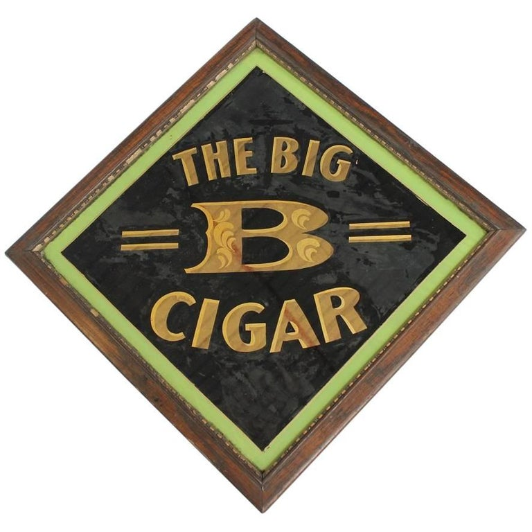 """Early 20th Century American Reverse Painted Glass Sign """"The Big B Cigar"""""""