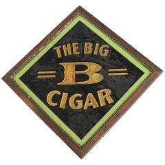 "Early 20th Century American Reverse Painted Glass Sign ""The Big B Cigar"""