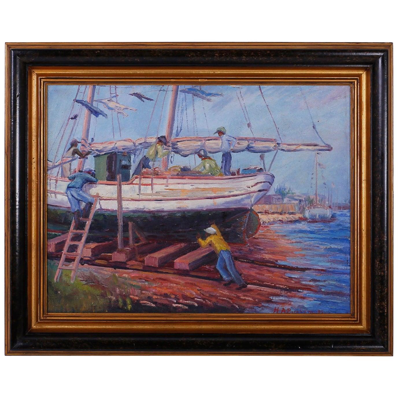 Vintage Impressionist Oil Painting of a Harbor Scene