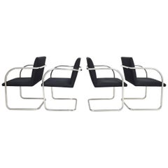 Knoll Black and Stainless Steel Brno Chairs, Set of 4