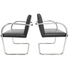 Knoll Brno Chairs in Black Leather