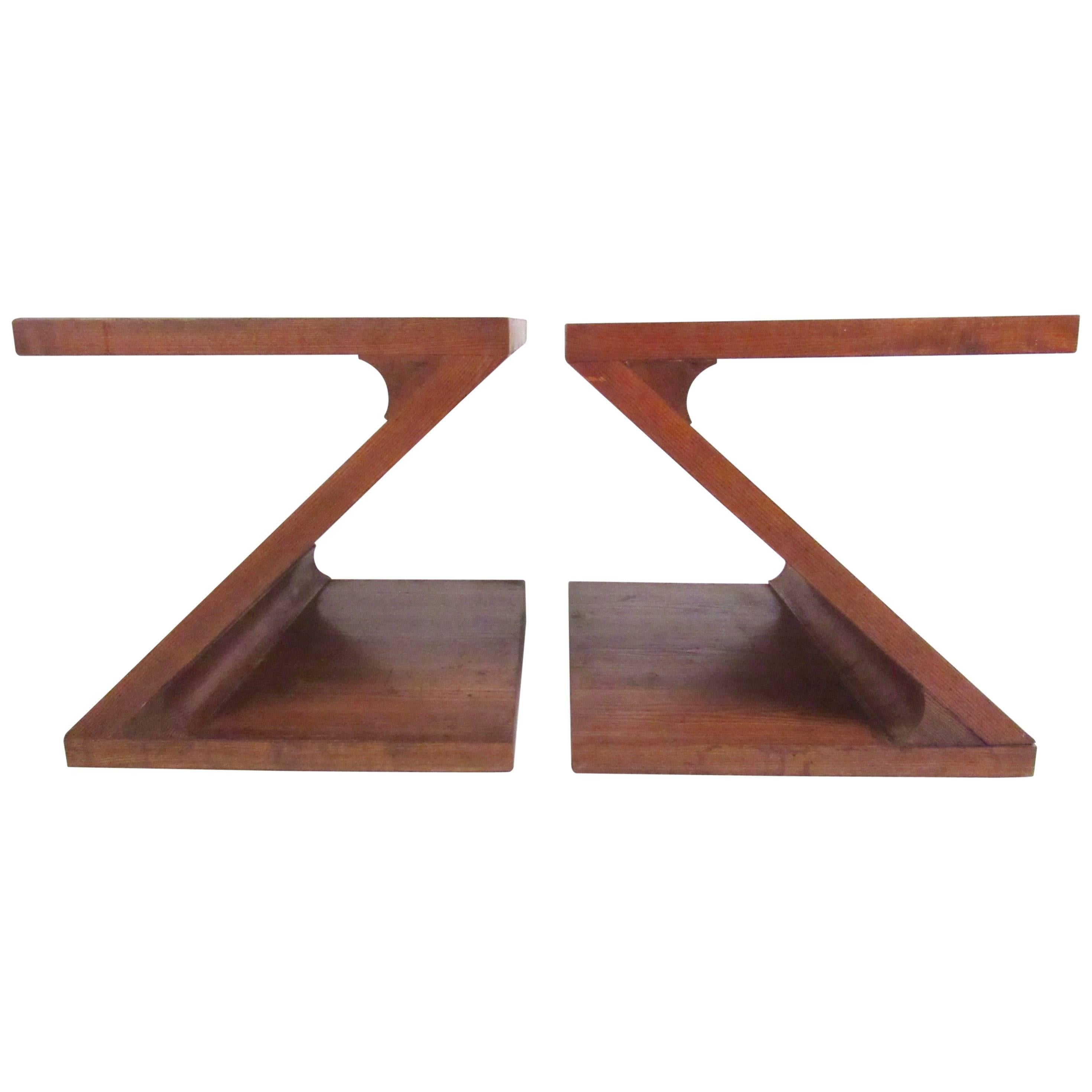 Pair of Vintage Z Shape End Tables by Lane