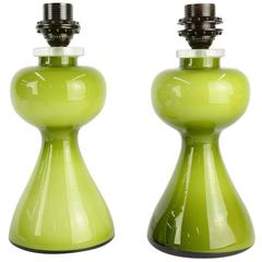 Striking Pair of Swedish Green Glass Lamps Per-Olof Strom for Alsterfors