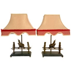 Pair of Table Lamps with Metal Monkey's