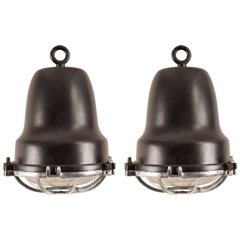 Pair of Aluminum and Black Nautical or Industrial Pendant Lights