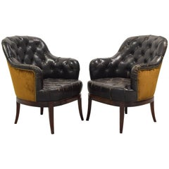 Pair of Spanish Neoclassical Style Tufted Leather & Velvet Upholstered Bergères