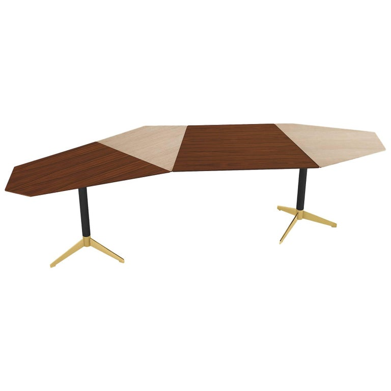 Zen Desk in Ash and Rosewood with Brass and Burnished Metal Details For Sale