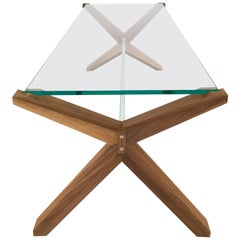 Stay Table, Contemporary Walnut and Glass Architectural Coffee Table