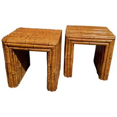 Pair of 1940s Bamboo Parson Tables